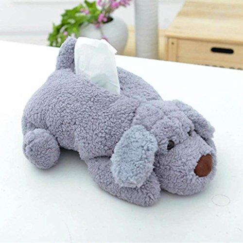 Price comparison product image HKFV Creative Cuty Design Teddy Dog Soft Plush Towel Box Tissue Home Decor Paper Boxes Home Decor (Grey)