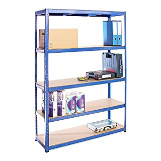 Garage Shelving Units: 180cm x 120cm x 40cm | Heavy Duty Racking Shelves for Storage - 1 Bay, Blue 5 Tier (175KG Per Shelf), 875KG Capacity | For Workshop, Shed, Office | 5 Year Warranty