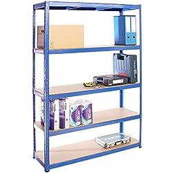 G-Rack (Bleu Rangement pour Garage, 180cm x 120cm x 40cm 5 Niveaux, Capacité de 875kg (175kg par Étagère) - très résistant, Charge Lourde