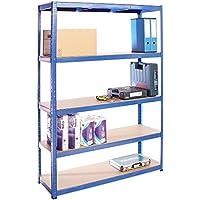 G-Rack Estante de Almacenamiento para Garaje Extra Amplio, Capacidad de 875kg, 5 Niveles, Color Azul 180cm x 120cm x 40cm