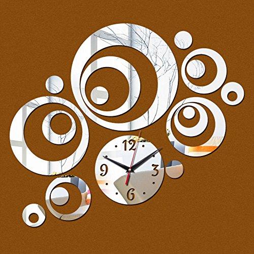 Nueva moda 3D pegatinas de pared Reloj de cuarzo de diseño para la decoración del hogar clockd salón Espejo acrílico moderno pegatina, plata