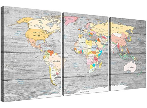 Gran mapa de mundo – cuadro de lienzo Colourful Light Grey – Split – Juego de 3 – 3306 Wallfillers