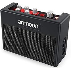 ammoon Amplificateur Portable de Guitare 5W Ampli Multi-effets Intégrés POCKAMP 80 Tambour Rythmes Support Tuner Fonctions Tap Tempo avec Entrée Aux et Sortie Casque Adaptateur Secteur Inclus