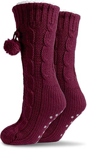 Qualität normani® ABS versch Super Damen Damenhausschuhe in Bordeaux von Farben flauschige Hausschuhe mit Kuschel 7wWtWB1qv