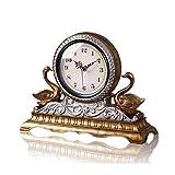 NNIU Tischuhr, Resin Silent Non-Ticking Dekoration für Wohnzimmer Nachttisch Uhr (Farbe : Bronze)