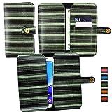emartbuy® Vert Rayures Vintage Étui Coque Case Cover en Cuir PU (Size 5XL) avec Fermeture Magnétique Bouton Adapté pour aPhone E6 5 inch Smartphone