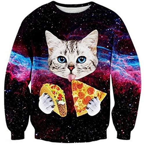 Goodstoworld Fun Cat Christmas Pullover Jungen Mädchen Männer 3D Katze Druck Weihnachten Weihnachtspullover Hemd Outfit L