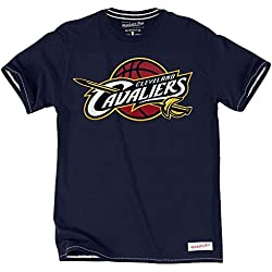 Mitchell & Ness Cleveland Cavaliers Tailored Logo NBA camiseta actual azul marino, azul marino, small