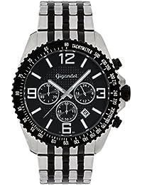 Gigandet Quarz Herren-Armbanduhr Fast Track Chronograph Uhr Datum Analog Edelstahlarmband Schwarz Silber G12-003
