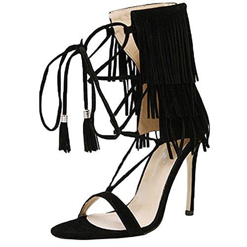 Oasap Femme Mode Sandales A Lanières Croisé Frange Talons Hauts Noir