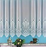 Gardine, Vorhang, Store weiß aus hochwertigem Jacquardstore mit transparentem Oberstoff und Kräuselband, H X B 160 X 300 cm