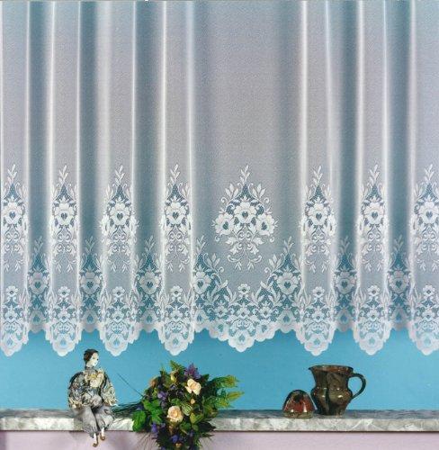 heimtexland Gardine, Vorhang, Store weiß aus hochwertigem Jacquardstore mit transparentem Oberstoff und Kräuselband, H X B 120 X 300 cm Typ10