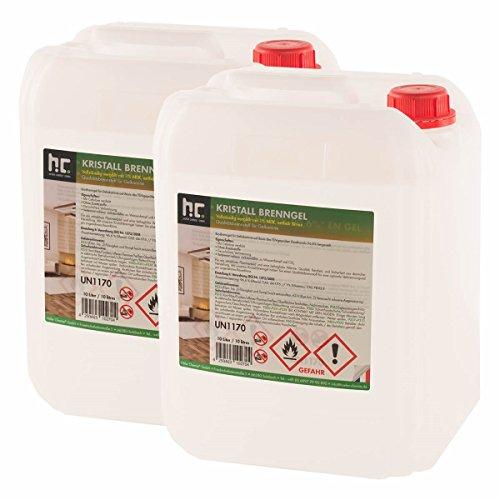 Höfer Chemie Kristall Brenngel Premium 2 x 10 L (20 Liter) für Brenngel Dekofeuer, Brenngel Lampe und Brenngel Kamin -