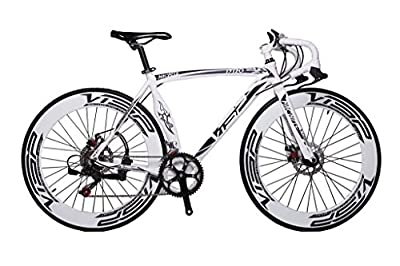 Cyrusher Machete White Aluminium Frame 54 cm 700C 70MM Mens Road Bike Speeds Road Bicycle Mechanical Disc Brakes