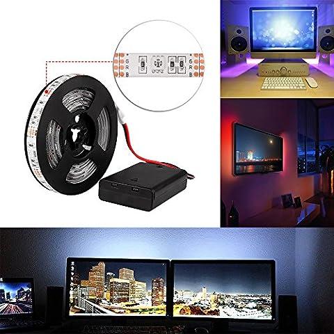 Led Strip 2M Waterproof Flexible RGB Colour Changing 60leds SMD 5050 IP65 5V TV Backlight Strip Light Battery Box