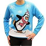 Weihnachtspullover Schlittschuhlaufender Pinguin