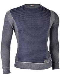 D&R Fashion Hommes Pull Sweatshirt Slim Fit Warm Grey Casual hiver côtelé Texture