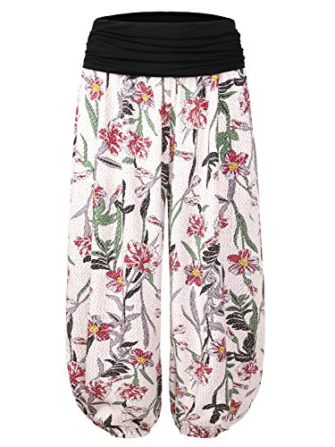 BAISHENGGT Damen Pumphose Haremshose Blumenmuster Lange Hose Weiß-Blumen L (Blumen-print-hose)