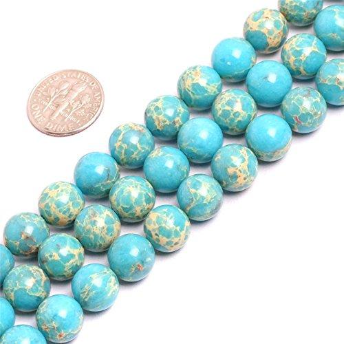 SHG-Shop Perlen Herrliche Crazy Lace Achat-Edelstein Runde Lose Korn Approxi 15 inch Pro Strang Für Schmuckherstellung (10mm, Ozean Blau) - Ozean-blau-korn