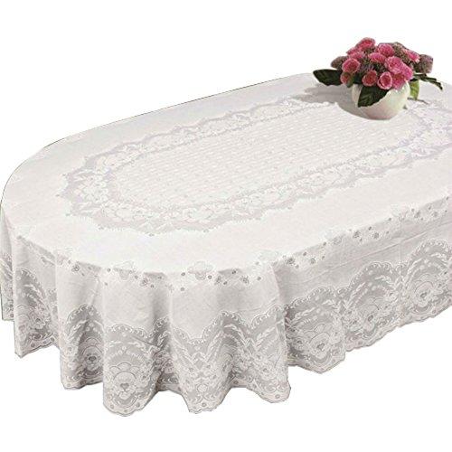 e Tischdecke Oval Rechteck Kunststoff Spitze Muster Weiß (Kunststoff-spitze Tischdecken)