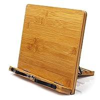 حامل قابل للتعديل مصنوع من خشب البامبو ومزود بمثبت ورق لحمل الكتب واللاب توب وجهاز التابلت وكتب وصفات الطبخ