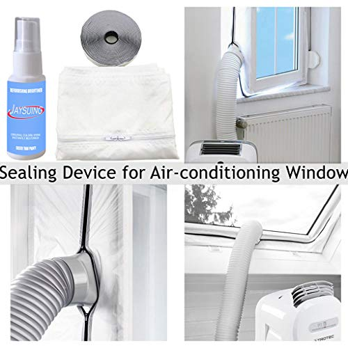 eliaSan Fensterdichtung für tragbare Klimaanlage 400CM Flexible Fensterdichtung aus Stoff und 30ML Reinigungsmittel für Mobile Klimaanlagen - Air Kit Conditioner Portable