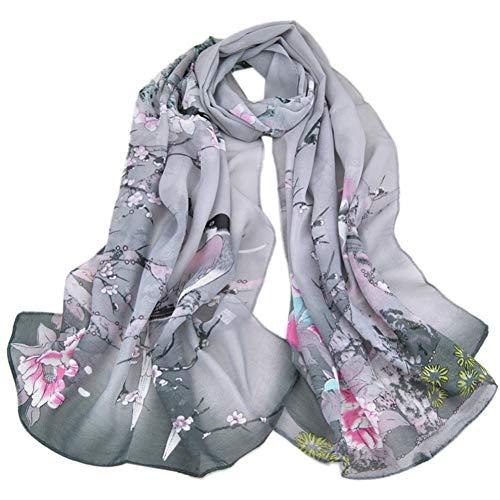 Lwylbp sciarpe in chiffon da donna elegantesciarpa con stampa florealesciarpecinesi di design unico fiori uccelli sciarpe avvolgere lungo-gray