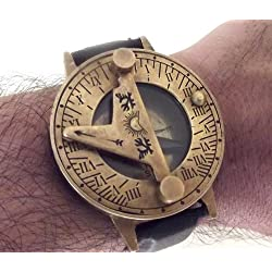 Steampunk Sundial Compass Wrist Watch. Antiquated Brass with Classic Leather Bracelet