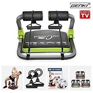 GENKI Core Smart Body AB Toning Work out Crunch Machine Fitness Trainer Home Gym Equipment with Resistance Straps, Exercise DVD, Poster (Green