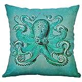 Precioul Kissenbezug Muster Dekorative Kissenhülle Leinen Werfen Sie Kissenbezüge Korallen Schildkröte Seepferdchen Quallen Wal Oktopus Seestern Muschel