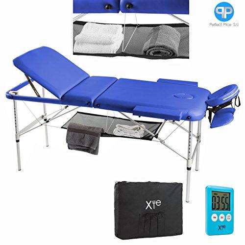 Lettino da massaggio 3 zone alluminio portatile reclinabile timer e porta asciugamano omaggio (blu)