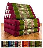 Thaikissen mit 3 Auflagen der Marke LivAsia®, Kapok Dreieckskissen, asiatisches Sitzkissen, Liegematte, Thaimatte (rot / grün)