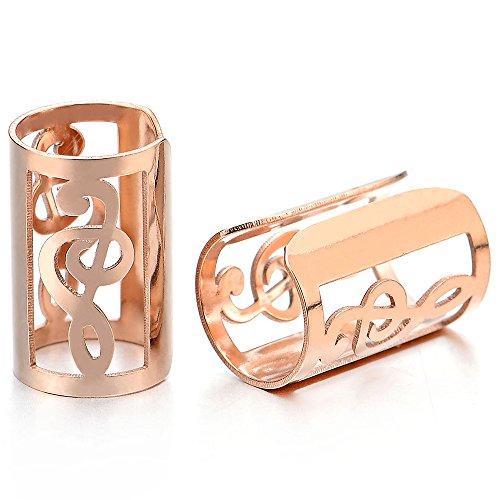 2 Stück Rotgold Farbe Ohr Clip-on Creolen mit Musik-Note, Herren Damen Edelstahl Ohr Manschette Ohrringe, Fake Piercing Piercing Manschette