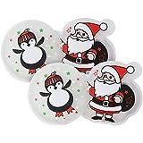 com-four® Scaldino Tascabile 4X Santa + Penguin, scalda Mani in Diversi Motivi Natalizi (04 Pezzi - Babbo Natale/Pinguino)
