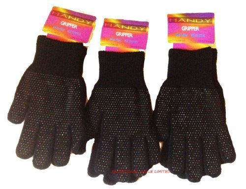 MAGIC GRIPPER GLOVES BLACK 3 PAIRS MENS LADIES ADULT ONE SIZE -NEW- FREE UK P&P by EXCEPTIONAL VALUE Womens Gripper Gloves