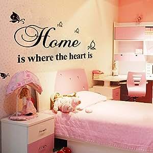 wandsticker zitate worte startseite ist wo das herz ist schlafzimmer wohnzimmer startseite. Black Bedroom Furniture Sets. Home Design Ideas