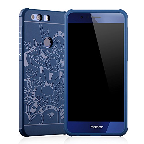 SMTR Huawei Honor 8 Funda Silicona,Huawei Honor 8 Funda Gel Suave TPU Case - Carcasa Resistente a los Arañazos para Huawei Honor 8 -dragón Azul