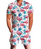 Adicreat Herren Mode Palme Baum Flamingos Hawaii Kurzen Ärmeln Strampler Outfits Weiß