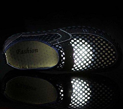 Pompa Scivolare su mocassino Filato netto Maglia sandali Casuale Scarpe Uomini traspirante Cavo Modello coccodrillo Scarpe a pedale sneaker Scarpe da corsa Scarpe pigri Dimensioni Eu 38-46 Blue