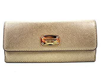 a431fc0b7b51 Image Unavailable. Image not available for. Colour  Michael Kors Jet Set  Travel Pale Gold Leather Flat Wallet