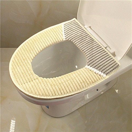 Tofree morbido copriwater copertura bagno cuscini imbottiti in poliestere filo tappetino wc, poliestere, grey, 43 * 38