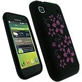 igadgitz Negro Case Flores Silicona Funda Cover Carcasa para Samsung i9000 Galaxy S + Pantalla Protector