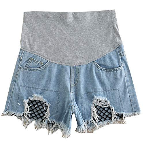 Fischnetz-shorts (WNuanjun, Leichte Baumwolle Fischnetz Mutterschaft Shorts Hosen für schwangere Frauen Denim blau Maternidade Schwangerschaft Shorts Umstandsmode Sommer schwangere Hosen)