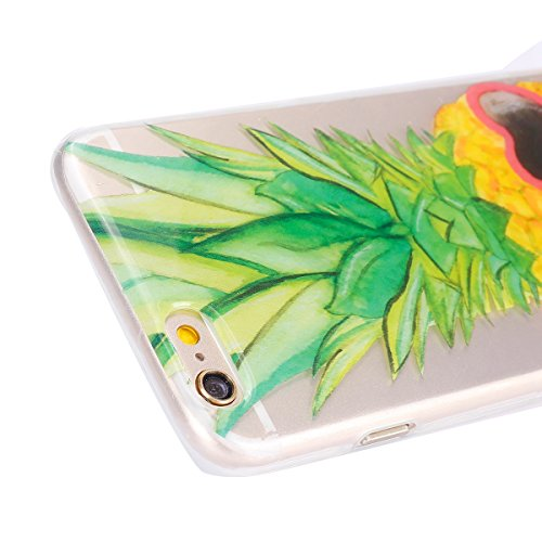 Hülle für iPhone 6 6S, Case Cover für iPhone 6 6S [Scratch-Resistant] , ISAKEN Ultra Slim Perfect Fit Malerei Muster TPU Silikon Clear Transparent Protective Rückseite Back Hülle Hüllen Beschützer Hau Ananas Brille