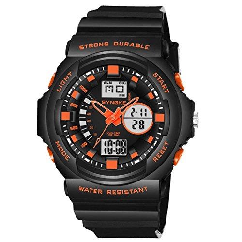 Yanhoo Digitale Sportuhr,Herrenuhren Multifunktion 50M Wasserdicht Watch LED Elektronische Gegenlicht Digitale Doppel Action Uhr Militärische Outdoor Sportuhr (Orange)