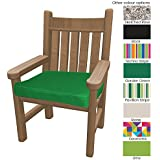 Outdoor Seat Pad Cushions - Fibre Filled Cushions for Chairs - Colourful Water Resistant Garden Chair Pads by PEBBLE® (Green)