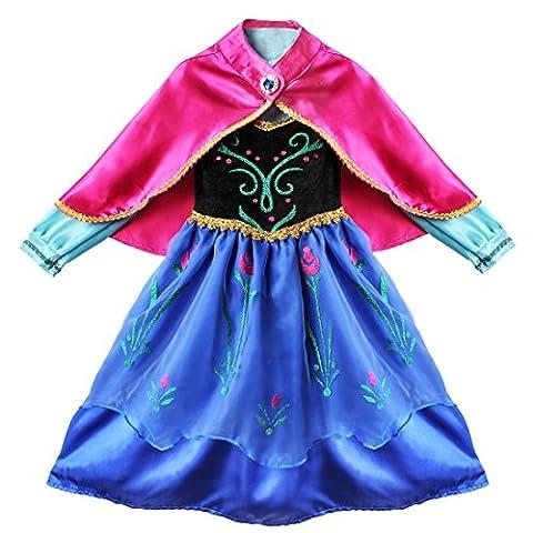 YiZYiF Enfant Fille Déguisement Classique Princesse Costume , Cape Soirée Carnaval - Bleu, 3-4 ans