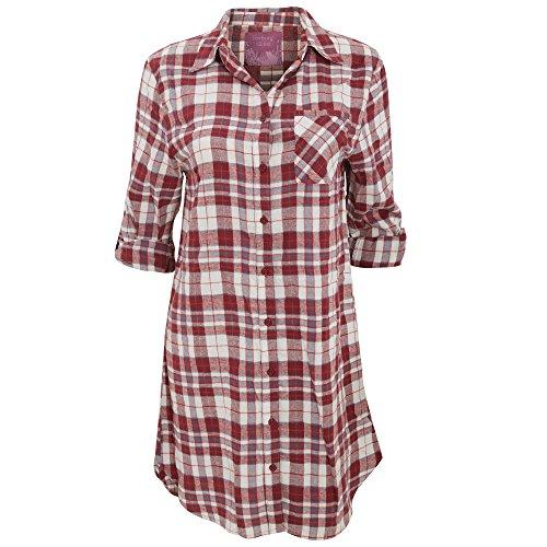 Foxbury - Camicia da Notte Classica a Quadri - DOnna Blu/Rosa Quadri
