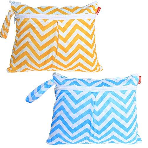 damero-2pcs-pack-cute-travel-baby-wet-and-dry-cloth-diaper-organiser-bag-yellow-chevron-blue-chevron