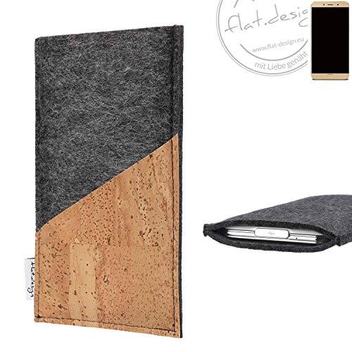 flat.design Handy Hülle Evora für Allview X4 Soul Lite handgefertigte Handytasche Kork Filz Tasche Case fair dunkelgrau